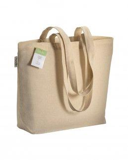Shopper in cotone organico certificato con soffietto da 120 gr