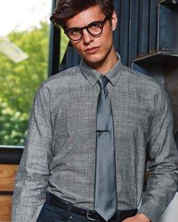 Camicia da uomo in chambray in cotone fiammato