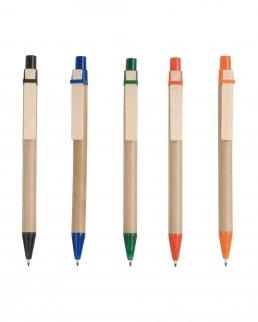 Penna a sfera in cartoncino e clip in legno