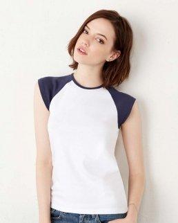 T-shirt da bambina con collo e maniche ad aletta in contrasto