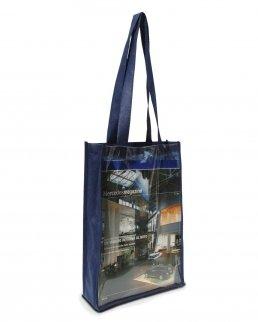 Shopper in TNT con soffietto e tasca frontale in PVC