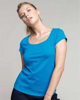 T-shirt donna manivhe corte scollo a barchetta