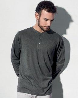 T-shirt uomo Henley maniche lunghe Aden