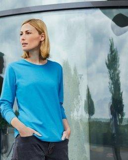 T-shirt donna manica lunga in cotone organico ring-spun