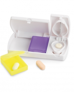 Portapillole con taglia pastiglie e 2 scompartimenti