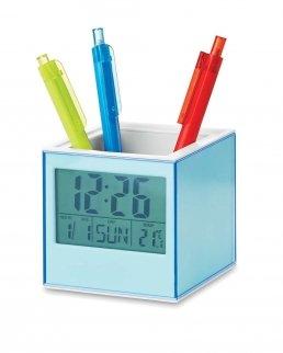 Portapenne cubico con funzioni orologio