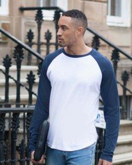 T-shirt uomo maniche lunghe in contrasto