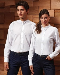 Banded Collar 'Grandad' Long Sleeve Shirt