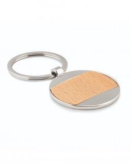Portachiavi  rotondo in legno e zinco