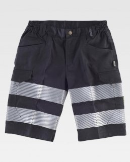 Pantalone corto con bande riflettente segmentate