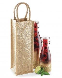 Borsa per bottiglia in Juta Shimmer