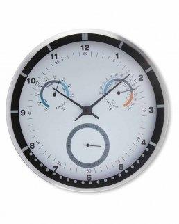 Orologio da parete, in alluminio, con igrometro