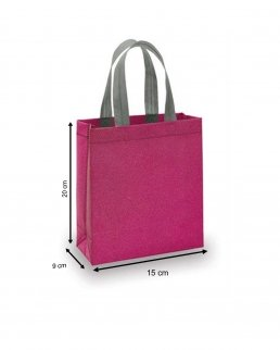 Shopper in TNT laminato e glitterato