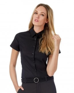 Camicia donna SSL Poplin Black Tie Elastane