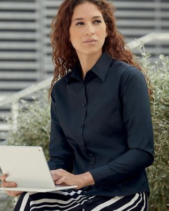 Camicia donna in popeline maniche lunghe