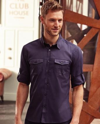 Camicia uomo maniche lunghe con risvolto