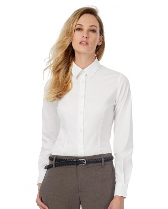 Camicia donna LS Poplin Black Tie Elastane