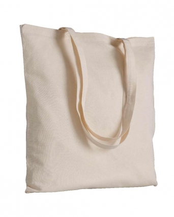 Shopper in 100% cotone naturale manici lunghi