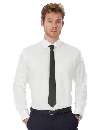 Camicia uomo LS Poplin Black Tie Elastane